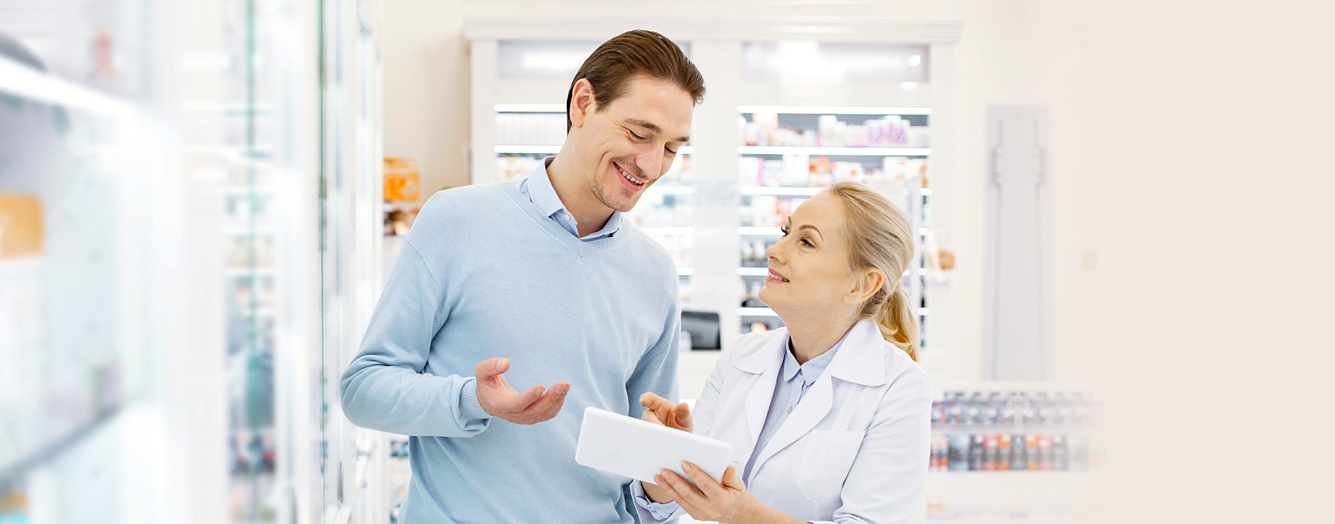 pharmacist and man talking